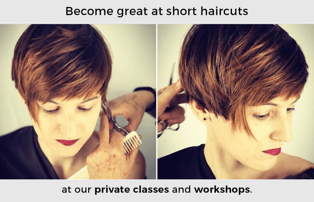 Short graduated haircut with bangs, highlights, and a weight line. Precision haircutting training at Mastercutter Academy